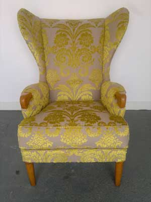 Parker Knoll after being upholstered in a designers guild fabric