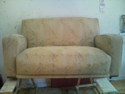Sofa in real need of upholstery