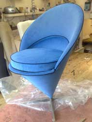 cone chair before reupholstery