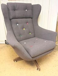 Egg chair reupholstered in a wool fabric for a client in Hackney