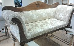 Chaise longe traditionally upholstered in a Linwood fabric for a client in Leytonstone