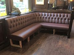 Bench seating we reupholstered in velvet for a hotel in Central London