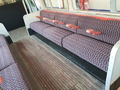London Underground seating we reupholstered for a client in Walthamstow