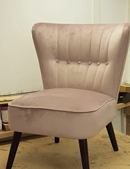 Fluted back chair upholstered in a velvet fabric for a client in London Fields