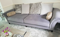 Sofa upholstered in Romo velvet for a client in Woodford