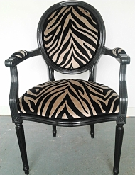 French dining chair reupholstered in Romo animal print for a client in Hackney