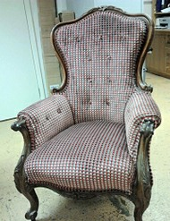 Antique French chair upholstered in a Striped fabric for a client in Clapton