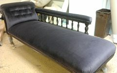 Vintage chaise lounge upholstered in black velvet for a client in Lower Clapton