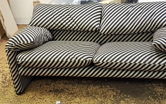 Sofa upholstered in a striped fabric for a client in Chingford